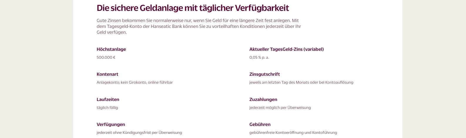 Hanseatic Bank Tagesgeld